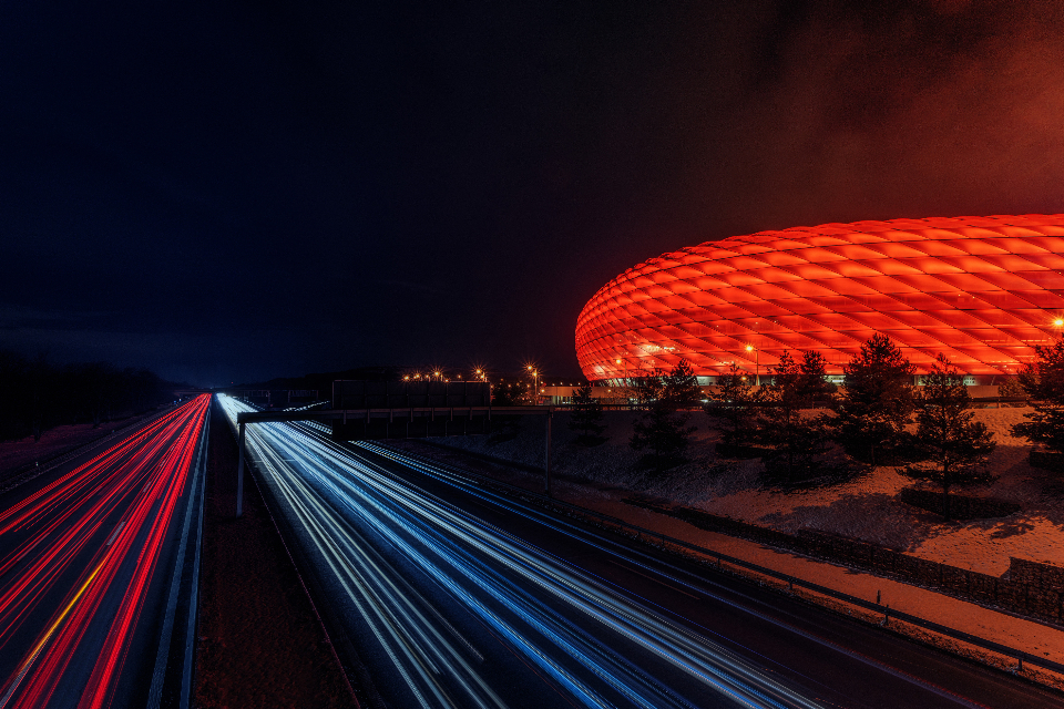 soccer stadium night autobahn highway lights red bayern football