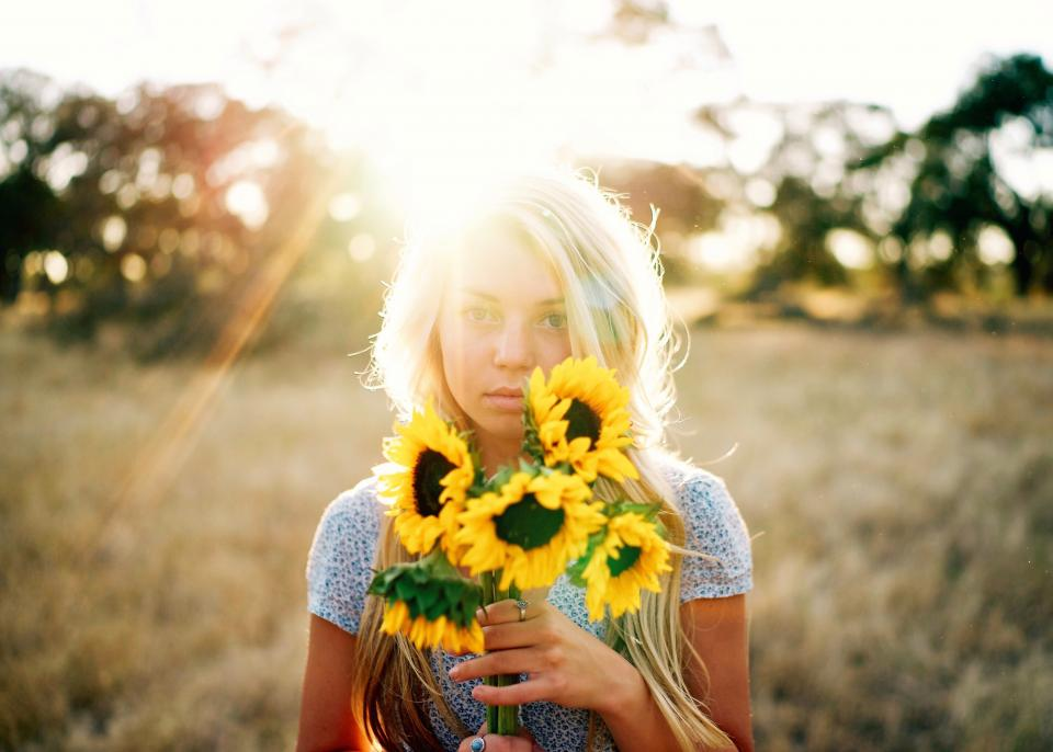 sunflower yellow petal field farm garden nature plant sunlight sunshine sunrise bokeh people girl alone