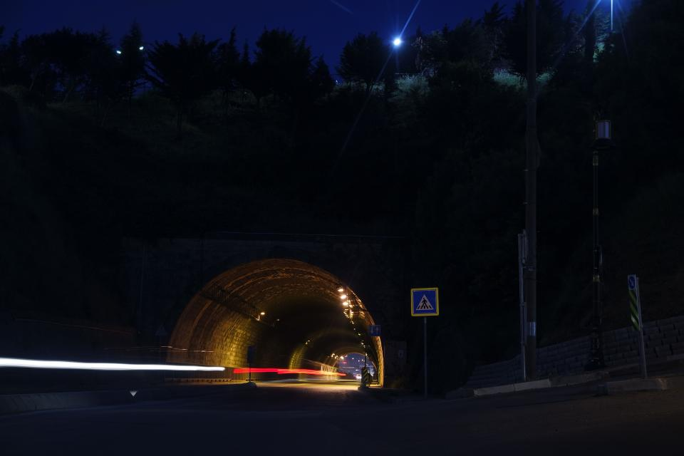tunnel long exposure car vehicle transportation travel adventure dark night