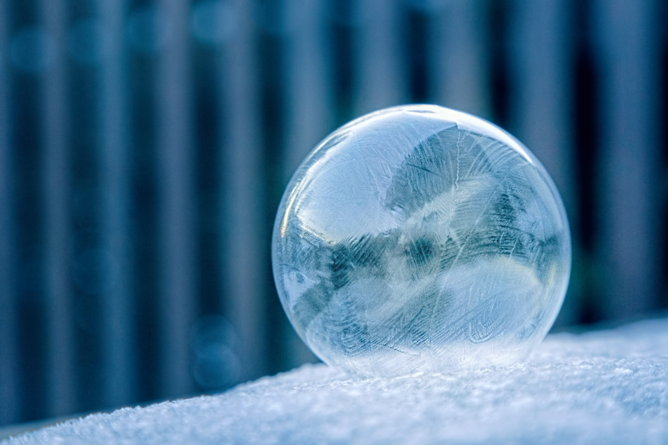 frozen ice bubble ball round cold icy snow winter outside nature