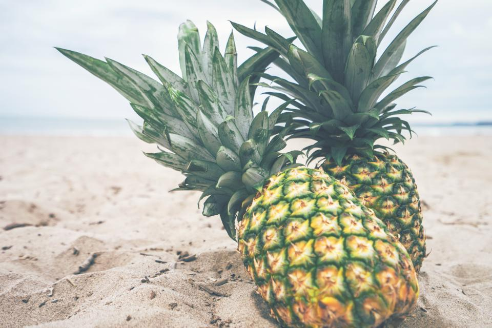 pineapple dessert appetizer fruit juice crop beach ocean sea sand waves