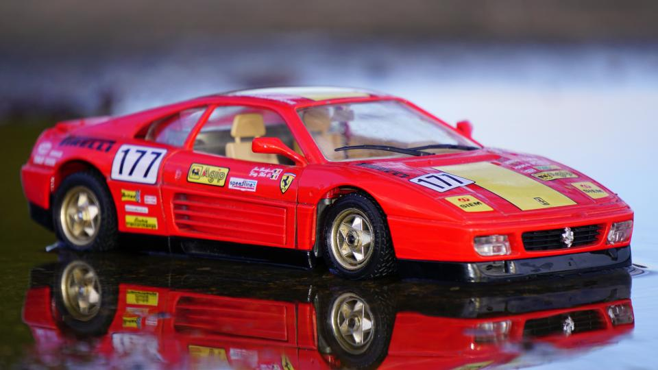 crafts hobby miniature cars still items things toys model scale table reflection ferrari red race bokeh