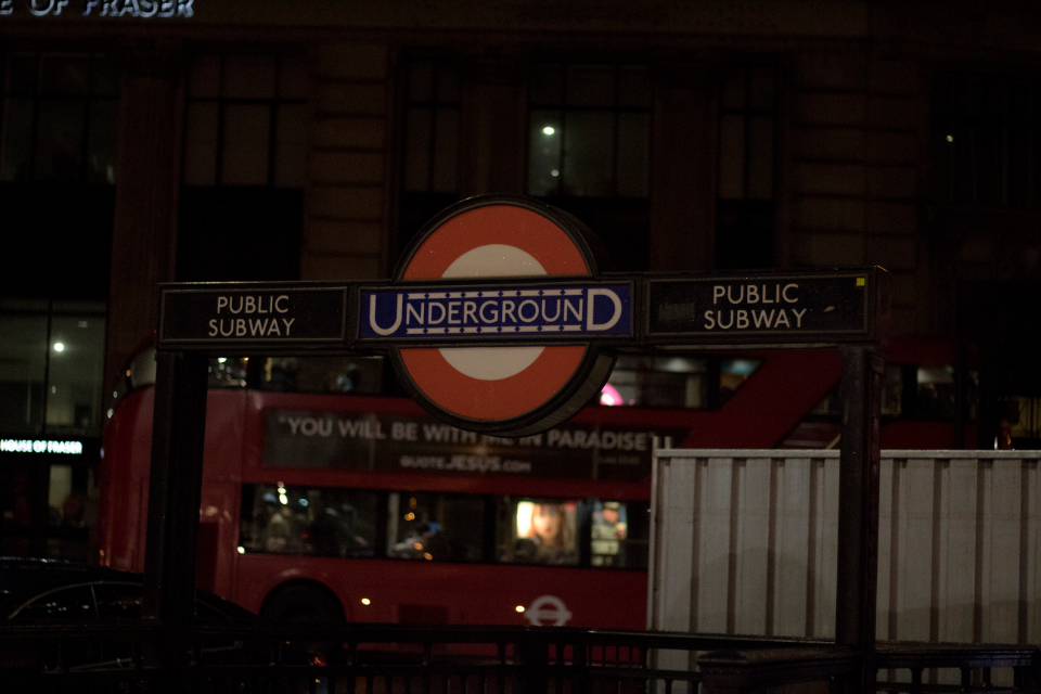 subway london underground sign city train night retro typography neon glow light