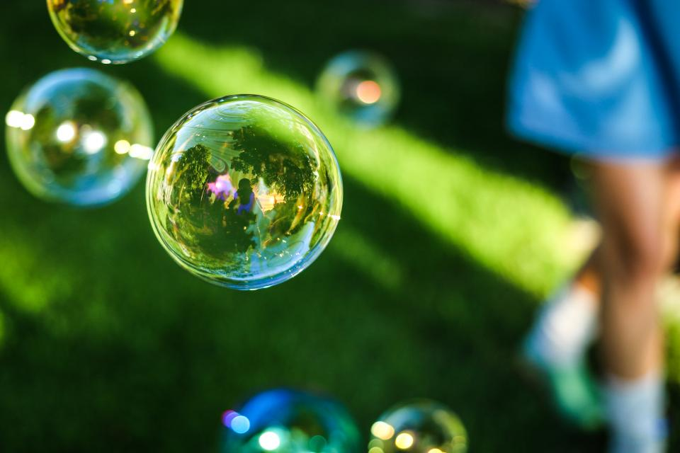 bubbles grass reflection outdoors