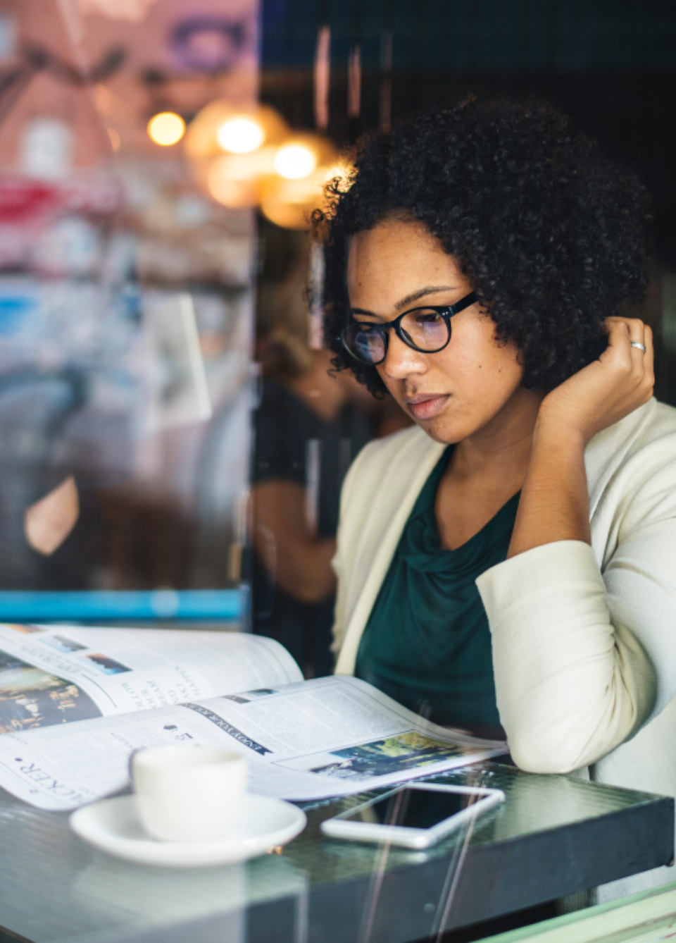 african american beautiful breakfast business businesswoman cafe checking coffee coffee cup coffee shop daily news economical financial focusing glasses global green interest lunch break morning news newspape