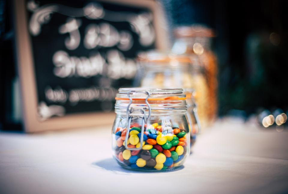 candy smarties chocolate glass jar food dessert