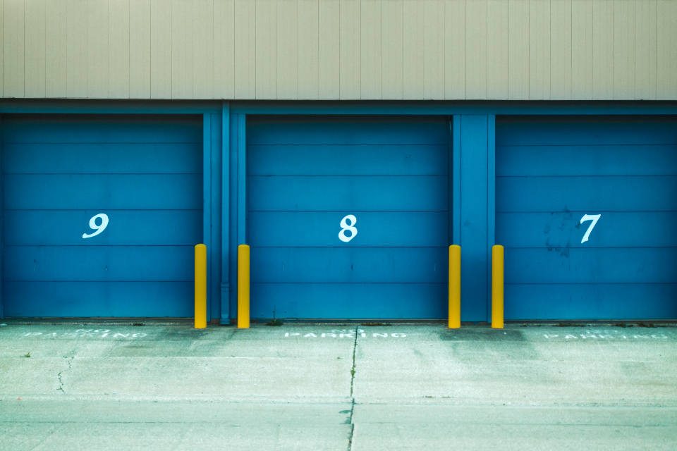 industrial garage doors parking urban city building architecture automobile transport travel hangar factory exterior