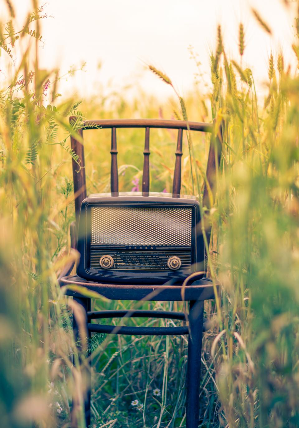 still things items technology vintage radio post modern chair nature field grass wheat green