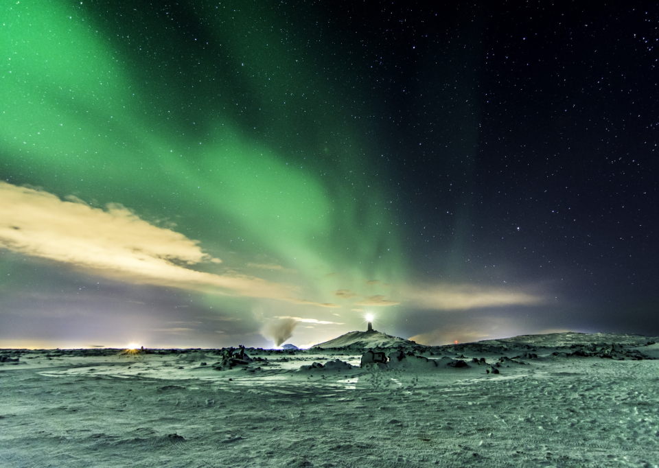 winter aurora snow aurora borealis northern lights sky stars astro landscape nature outside outdoors night ice cold frozen lights iceland green starry terrain magical