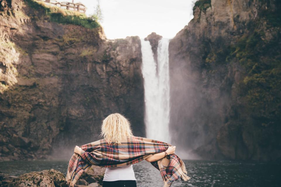girl woman blonde people scarf fashion waterfall river stream nature outdoors rocks cliffs