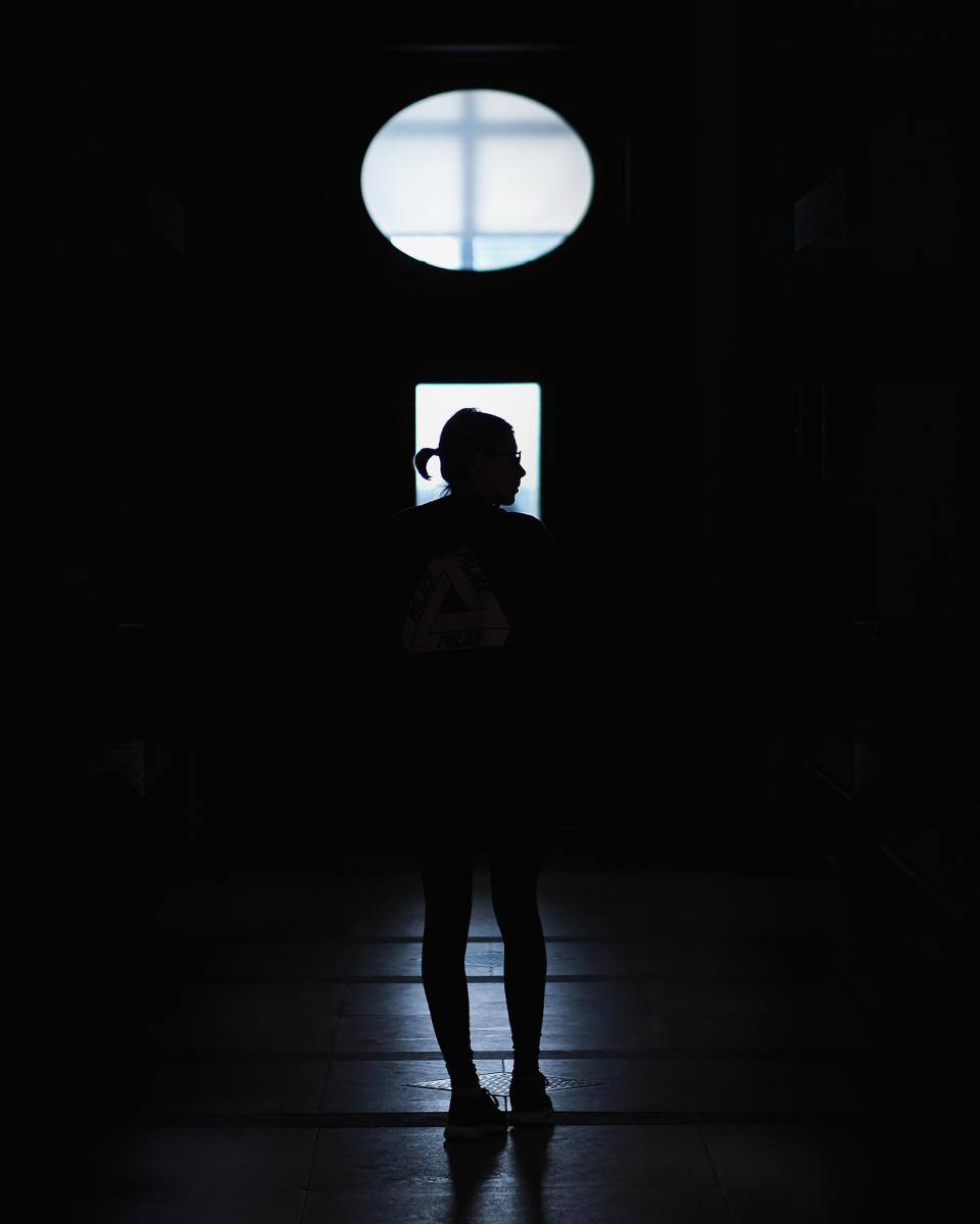 people woman girl indoor dark silhouette