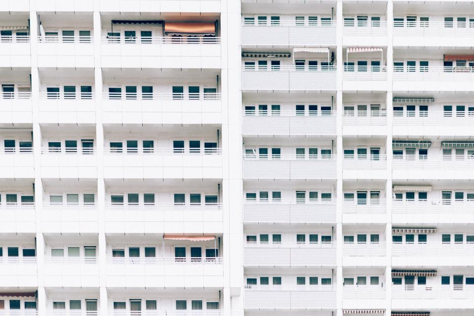 architecture buildings city landscape windows balconies urban metro downtown high rise patterns minimalist white