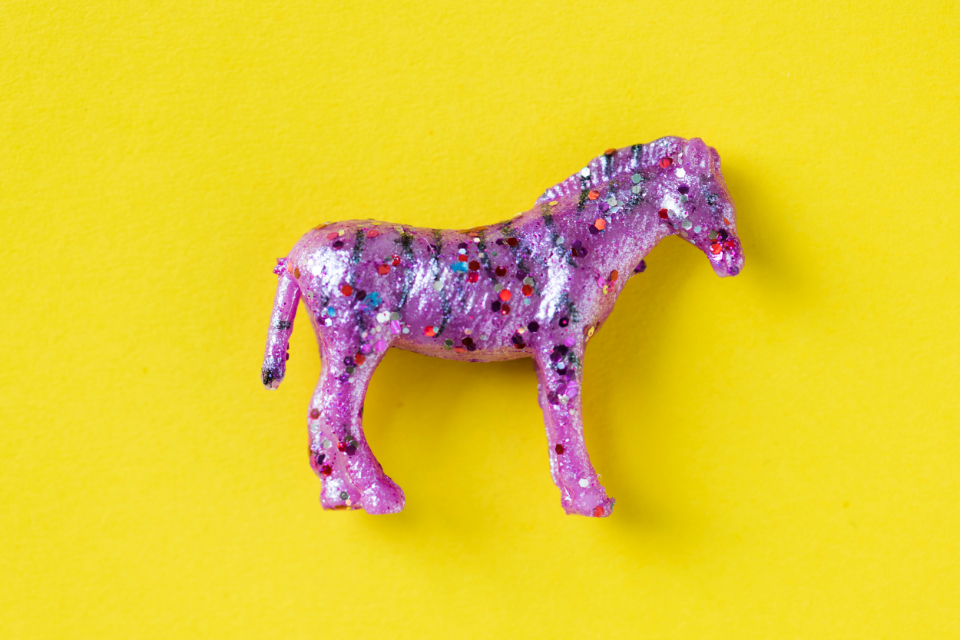 animal bedazzled bling childhood closeup colorful decor decorated decoration effects equestrian fashion figure flat lay flatlay funky glitter horse isolated model object plastic safari sequin shimmer style stylish toy