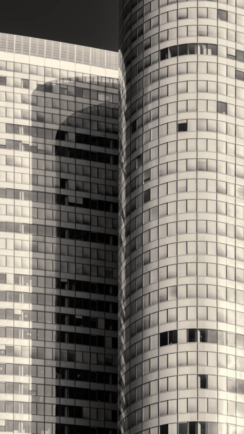 city buildings windows close up skyscrapers downtown urban offices workplace architecture desaturated