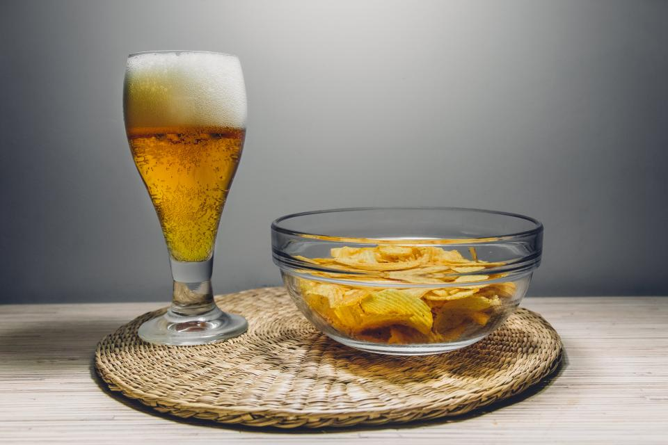 beer alcohol brew drink chips snacks food bowl