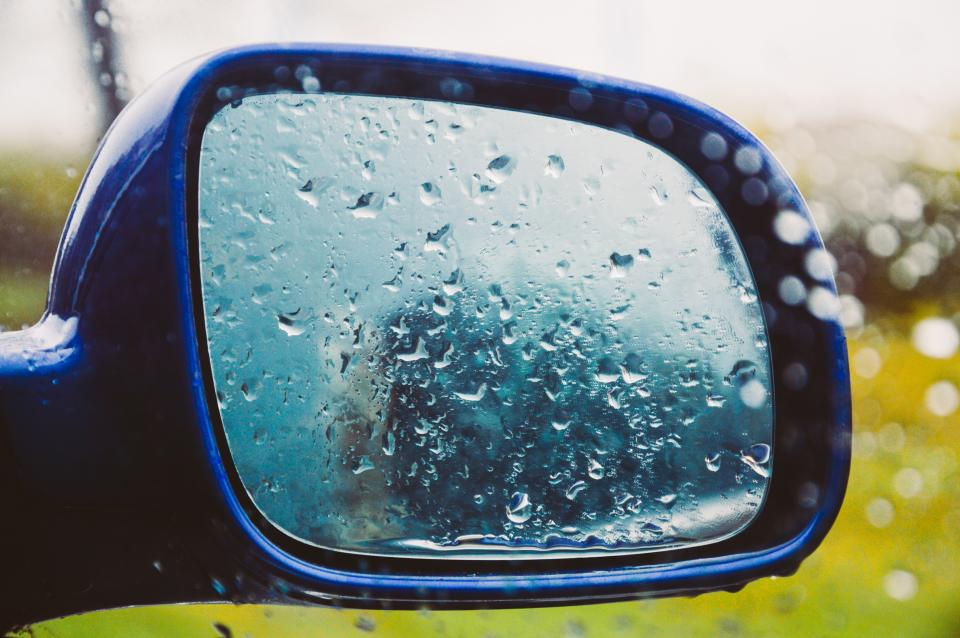 mirror window raining wet rain drops car automotive