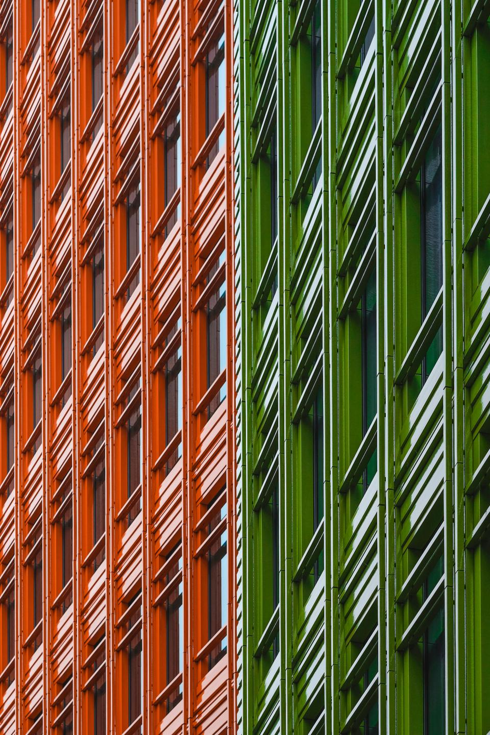 architecture building infrastructure orange green facade