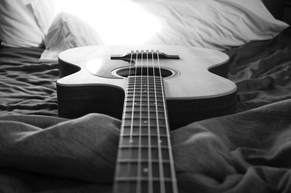 black and white guitar string music acoustic instrument bed sheet pillow