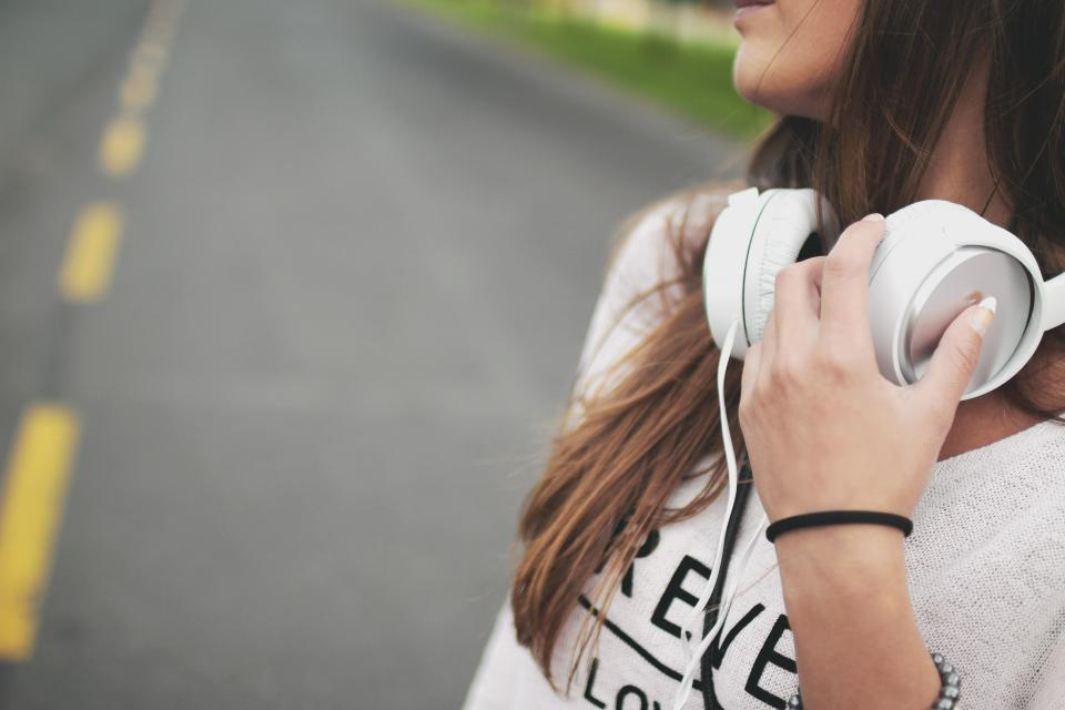 headphones music girl woman people lifestyle road