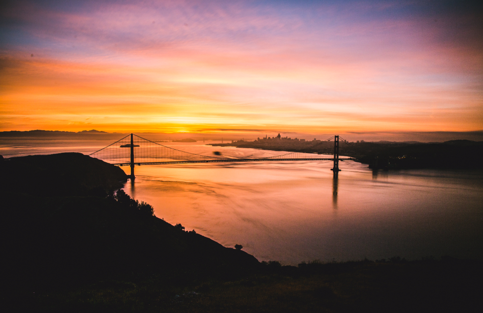 San Francisco Bridge SF ocean sunrise dawn landscape scenic colourful water sun beach sky silhouette light nature reflection outdoors travel colours