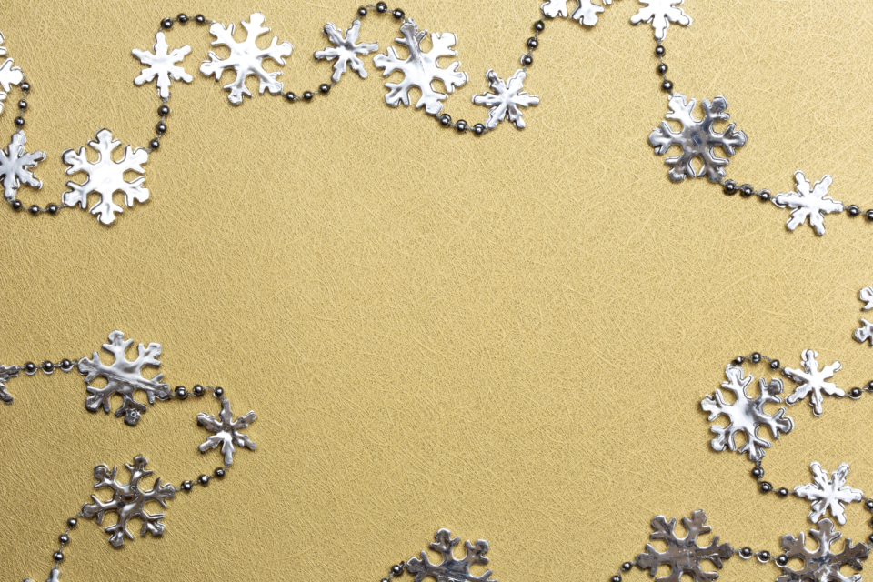 silver gold snowflakes snow decorations christmas holiday decor design art texture background flatlay flat lay creative objects golden glitter ornament copy space wallpaper bling sparkle shiny string decoration festive