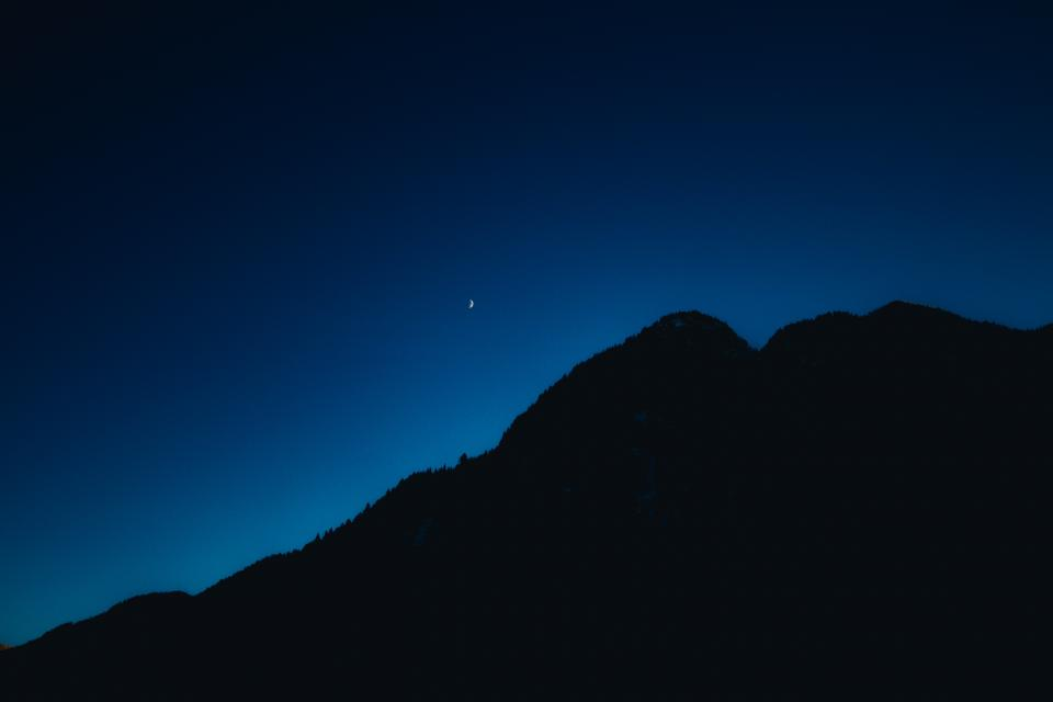 mountain dark silhouette blue sky night nature landscape