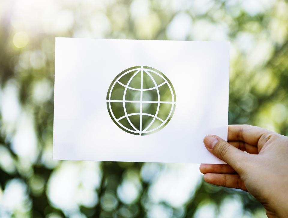 bokeh blur plants trees hand paper globe business unity