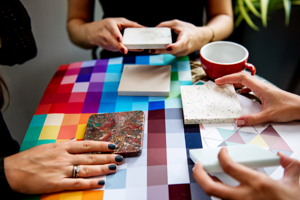cooperation corporate creative creativity discuss executives meeting partnership work color swatch people startup business working colleagues creatives design designers colour color brainstorming together interior architect team