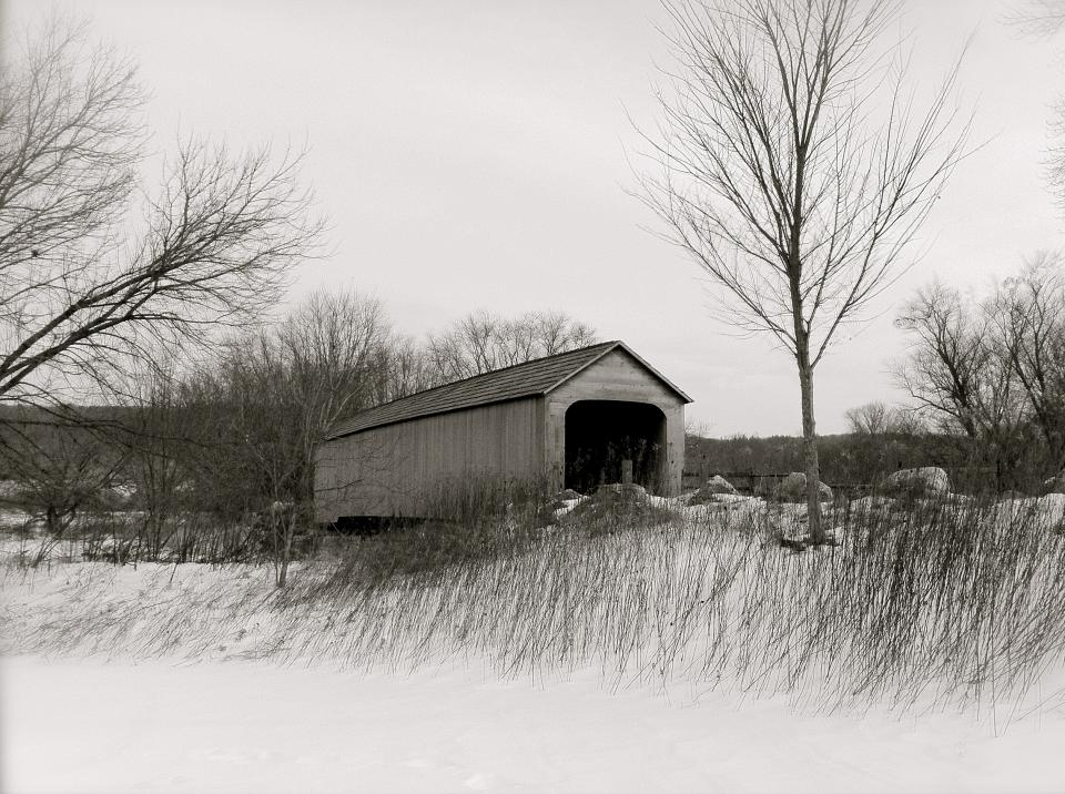 covered bridge snow winter
