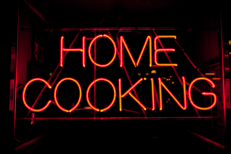 neon sign cook cooking home art design typography dark black red orange