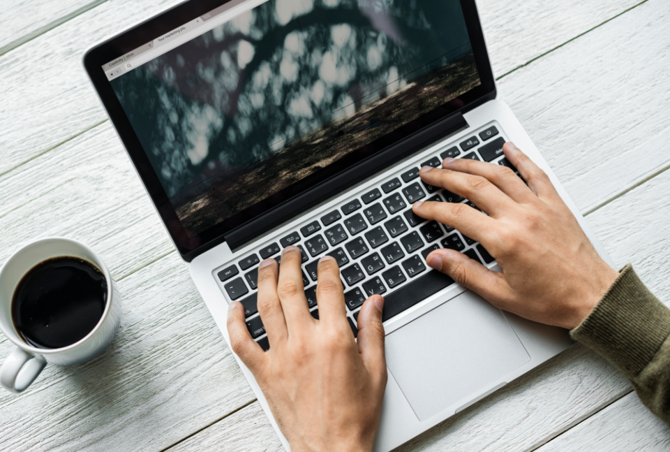 browsing coffee communication computer connection cup daily device digital drink enjoying grab hand hobby home hot drink internet keyboard laptop leisure lifestyle man media morning mug network