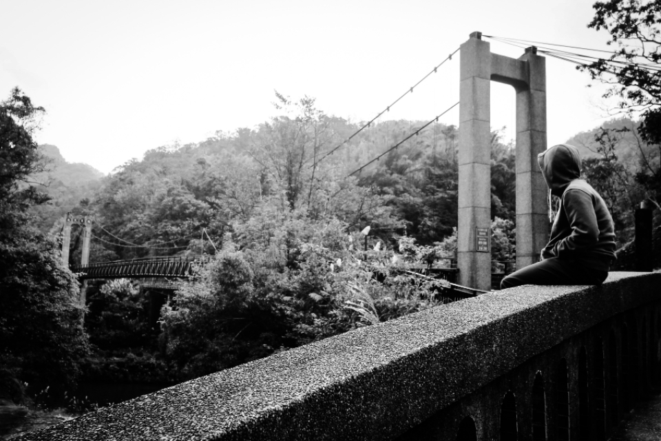 man look bridge black & white forest tree nature concrete