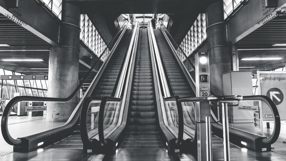 architecture building infrastructure structure establishment escalator stairs station black and white monochrome