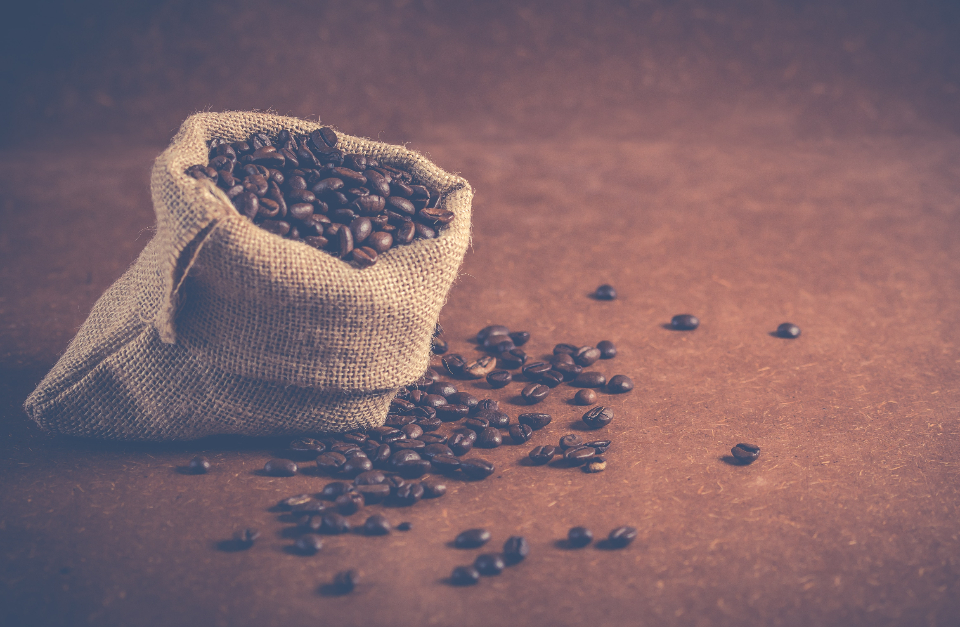 sack coffee beans caffeine drink food rustic spill coffee beans