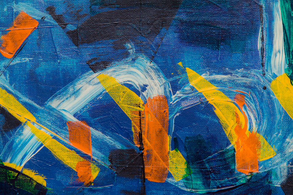 colorful art paint abstract bold yellow blue orange acrylic canvas artist creative design texture painting