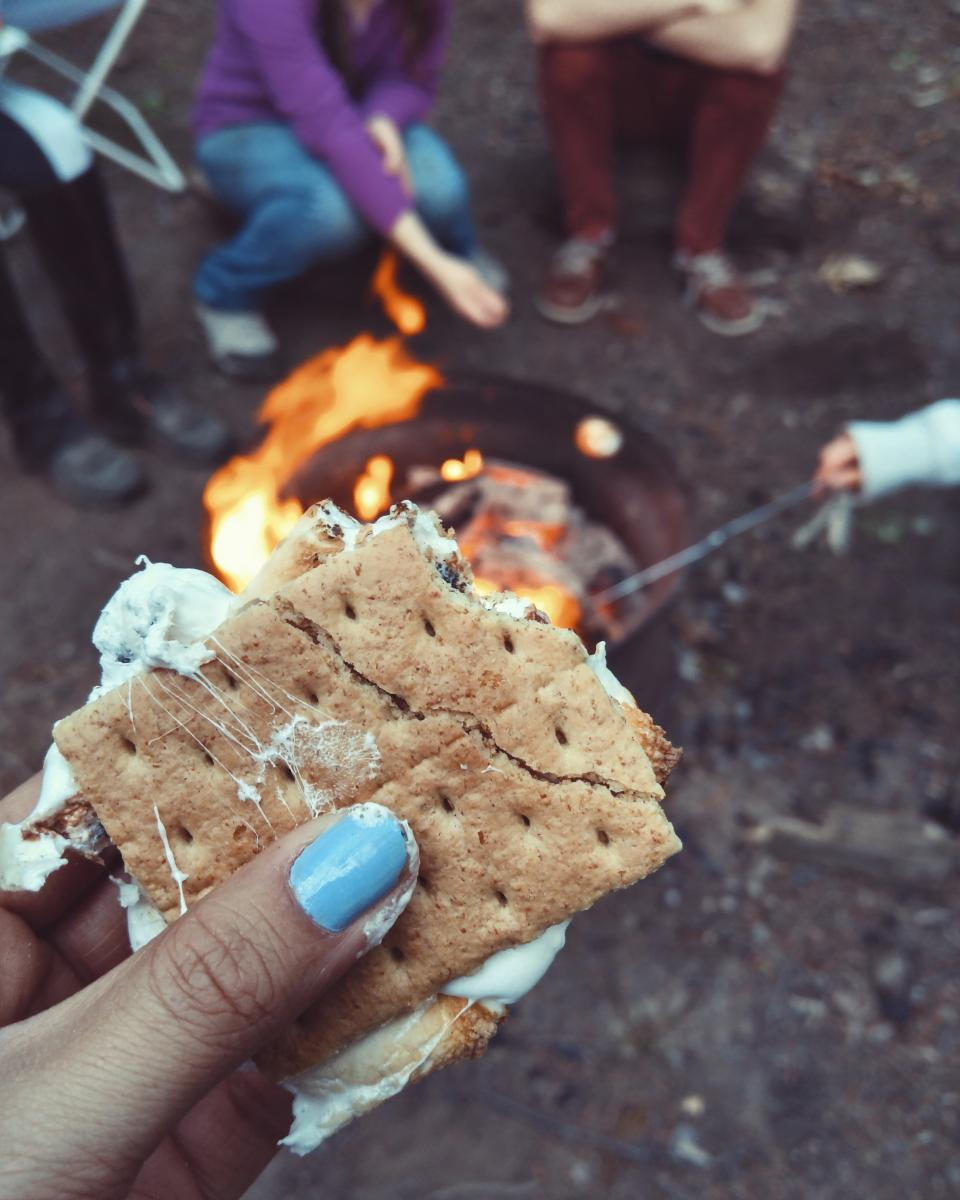 s'more food snack fire cooking outdoor hand blur camping travel people girls friends