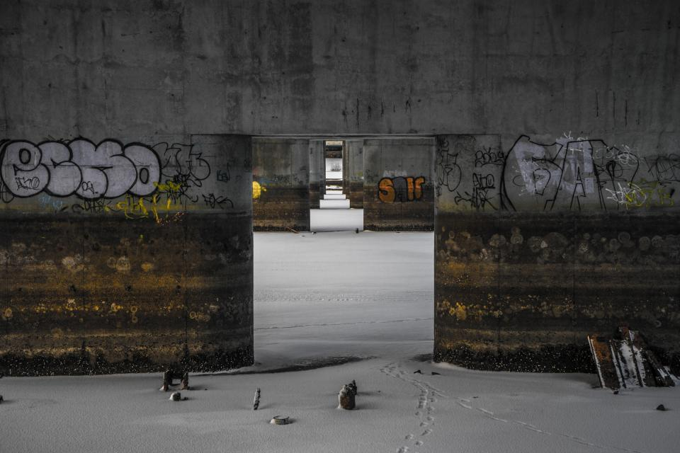 snow winter footprints wall art graffiti public bridge