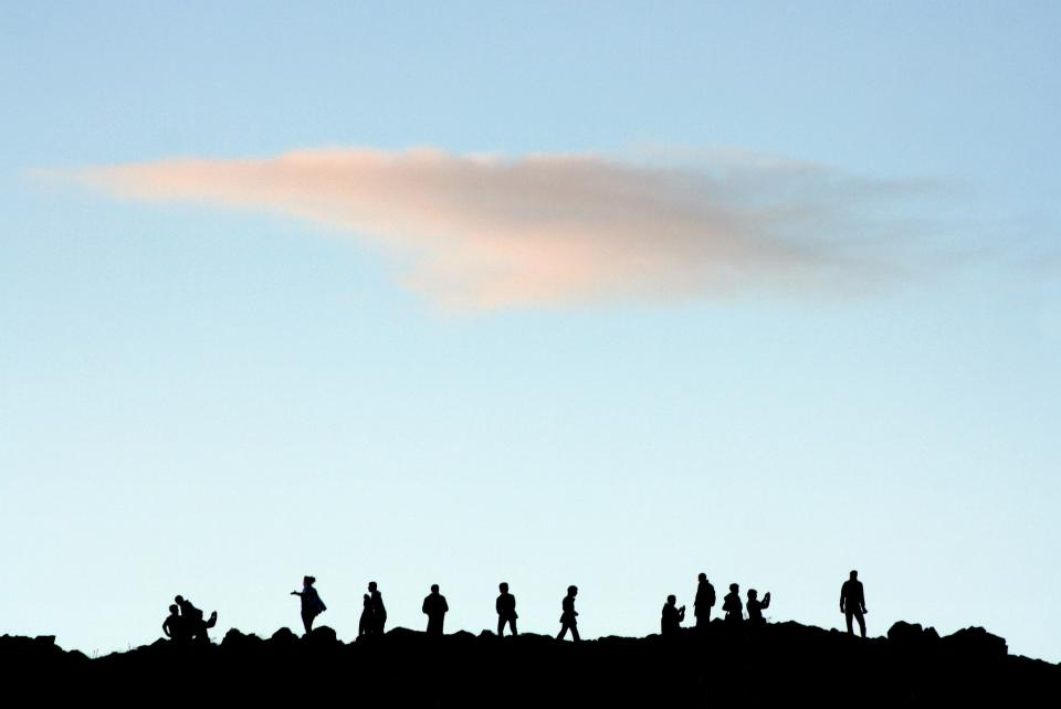 nature landscape sky clouds people silhouette blue group