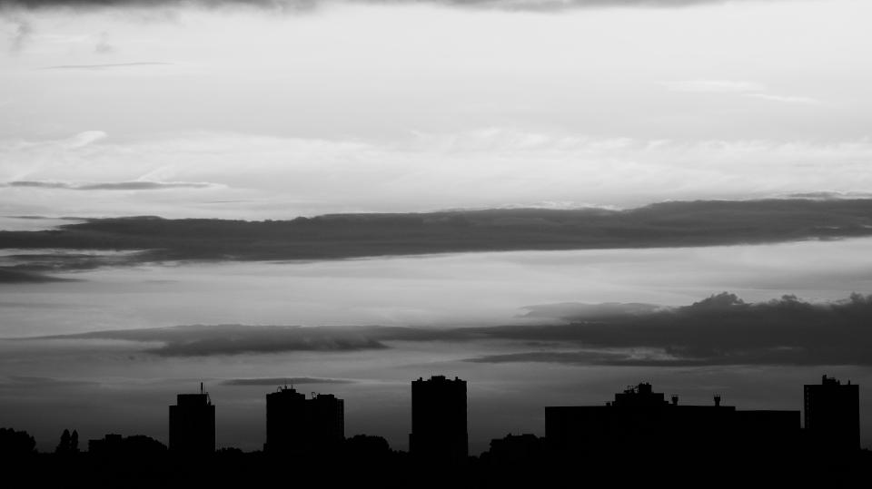 black and white monochrome nature landscape clouds sky aerial urban city building establishment