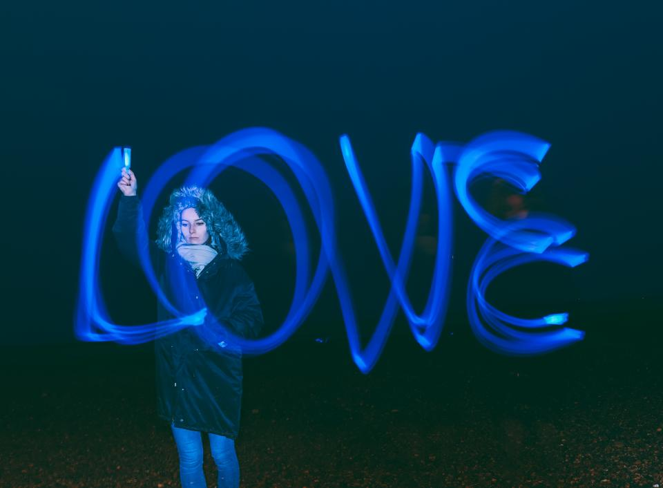 love long exposure bulb art people woman dark night cold weather scarf coat photography