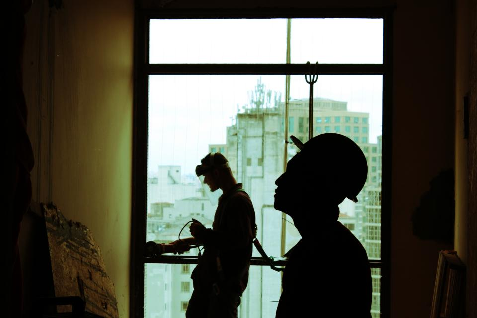 architecture building infrastructure indoor people work men silhouette