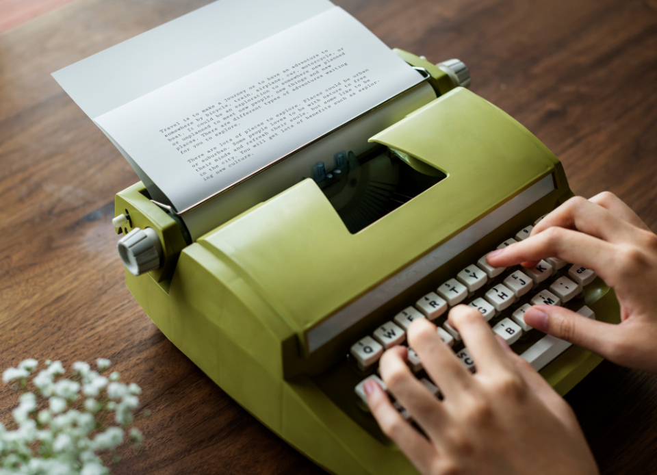 analog author career classic creative decoration document editorial equipment feminine flower freelancer girly hand hobby journalist keyboard machine old fashion paper person plant publish reading retro sto