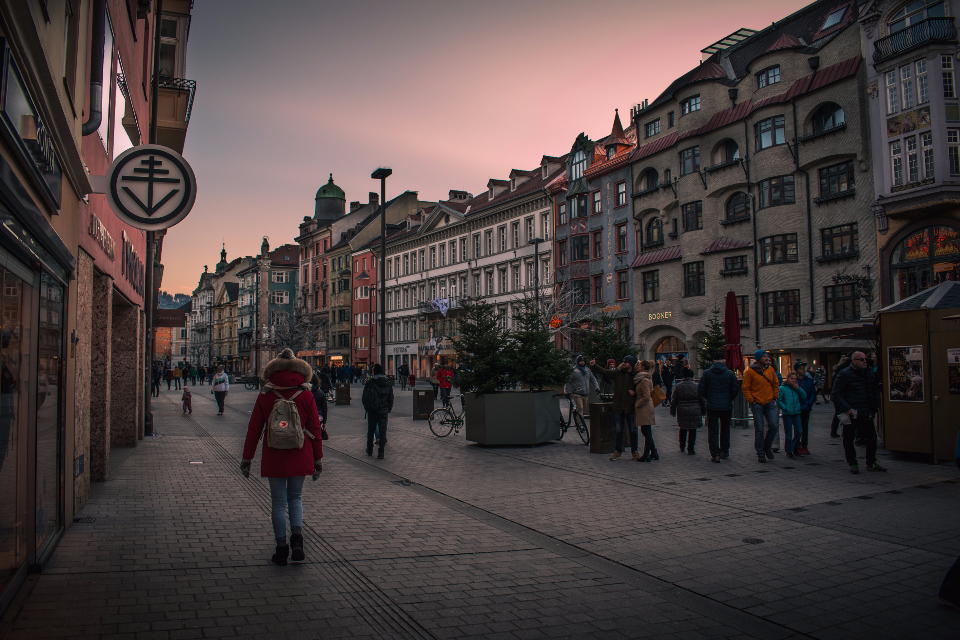 innsbruck austria city sunset dusk architecture winter sky pink