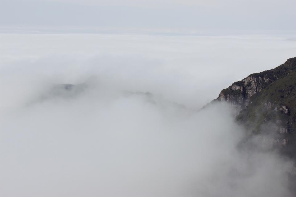 nature mountain smoke fog white sky