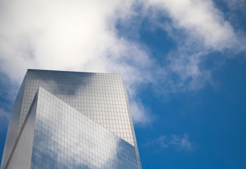 architecture building infrastructure structure establishment glass windows clouds sky
