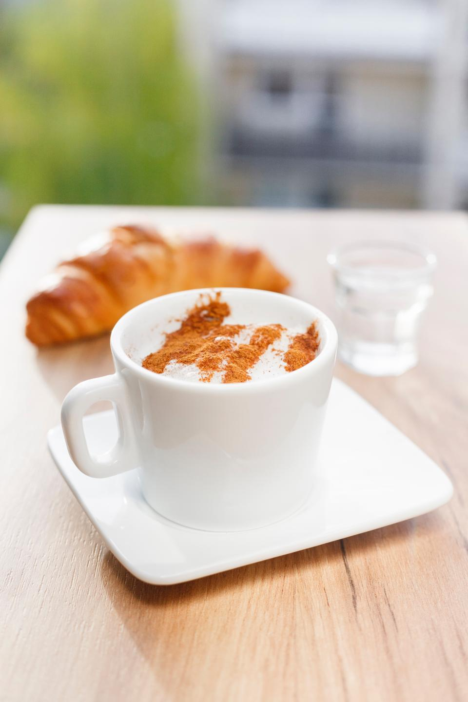 croissant bread food snack coffee cafe glass cup plate coffeehouse table
