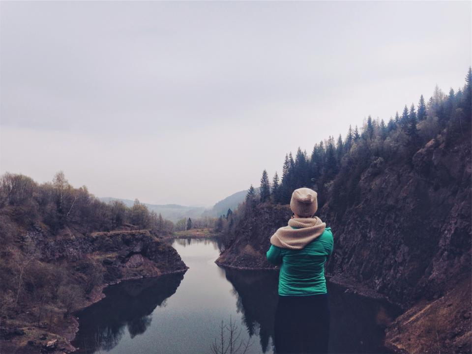 landscape river water mountains trees girl woman people nature