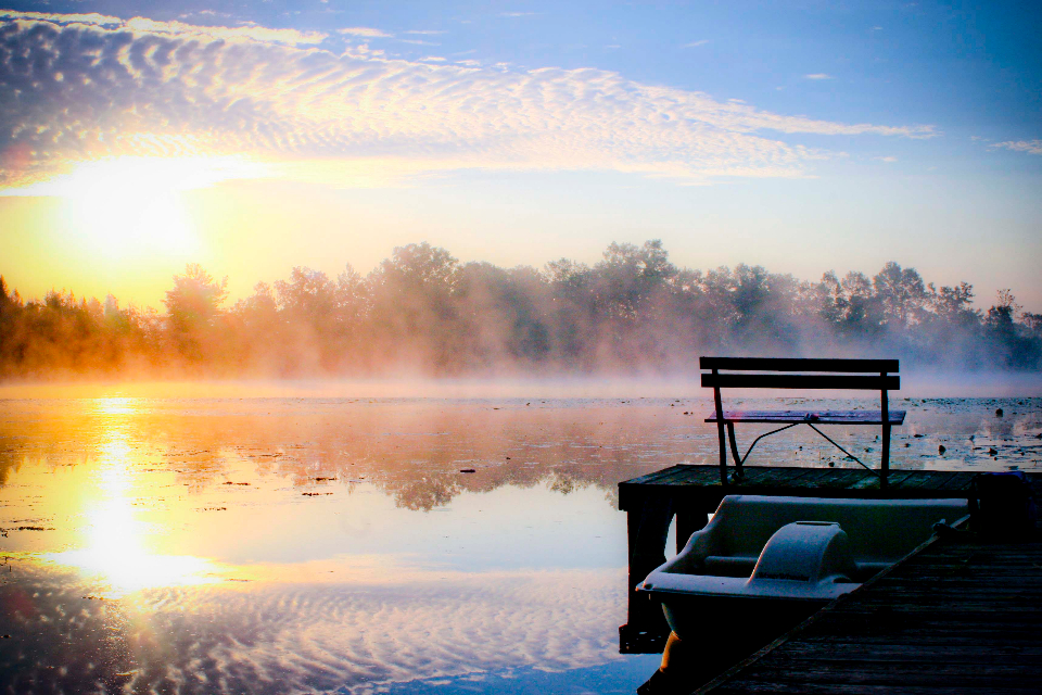 misty lake morning bench boat clouds dawn dock mist landscape reflection river sunrise trees water