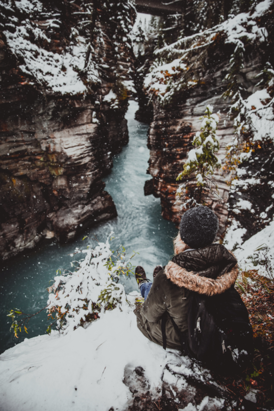 canyon water Johnston Canyon alberta winter snow explore exploring snowing cold girl woman coat