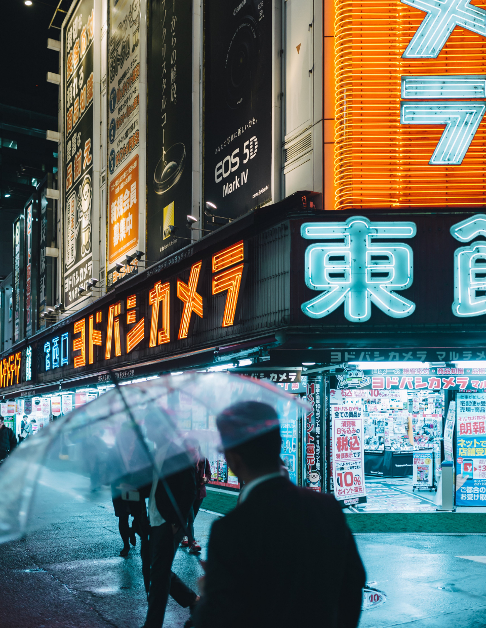 neon tokyo street signs people walking rain umbrella weather city busy night lights commute sidewalk stores